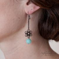 Boucles d'oreilles Arabesques - Perle amazonite